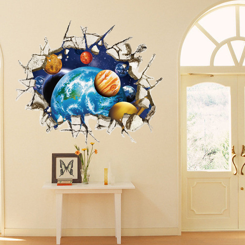 3d removable outer space planet wall stickers waterproof for Outer space vinyl wall decals
