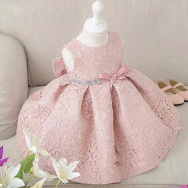 Elegant White / Pink Baby Girl Sleeveless Big Bow Ball Gown Party ...