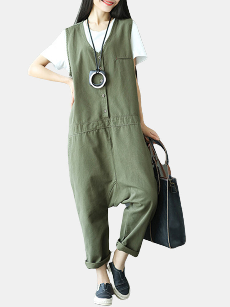 Casual Loose Solid Pockets Sleeveless V-Neck Harem Jumpsuits