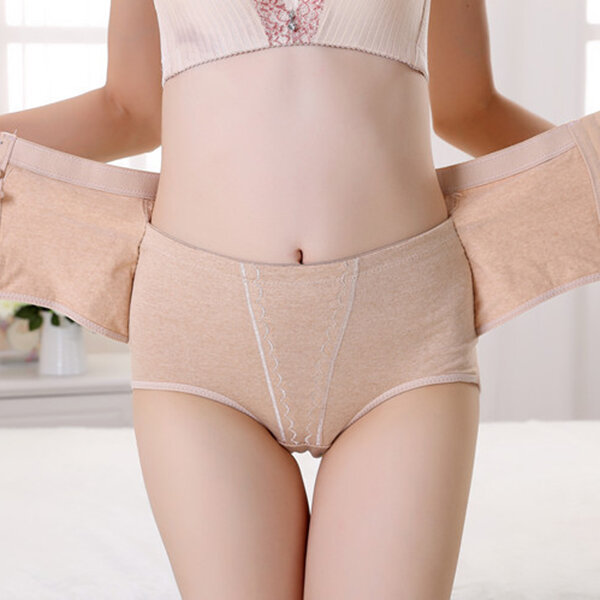 High Waisted Cotton Front Closure Tummy Shaping Hip Lifting Shapewear, Nude