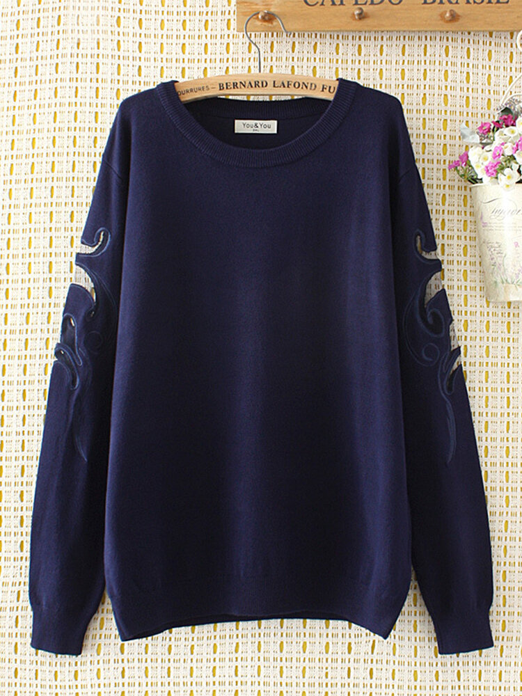 Embroidery Hollow Out Pullover Sweater