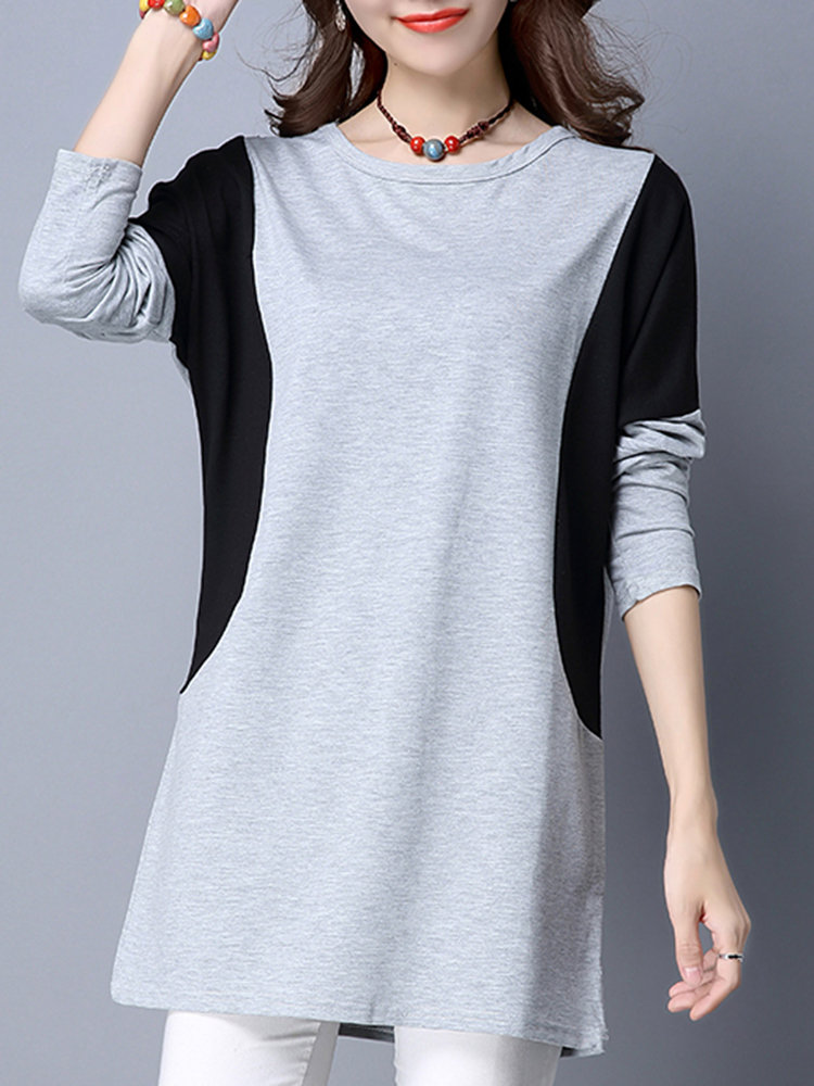 Casual Women Color Contrast Stitching Long Sleeve Blouse, Gray