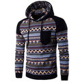 Mens Hoodies Retro Ethnic Style Pattern Printing Front Pocket Sport Casual Hooded Tops