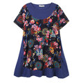 Flower Printing Patchwork Mini Vintage Dress For Women