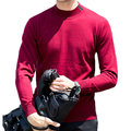 yanyuanlong 100% Woolen Knitted Casual Sweater Solid Color Stand Collar Pullover Tops for Men