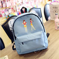 Cute Candy Color School Bags Lovely Zipper Cartoon Pattern Backpack