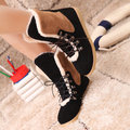 Color Match Lace Up Foldable Boots