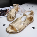 Shiny Clip Toe Bandage Strappy Buckle Peep Toe Flat Metal Color Sandals