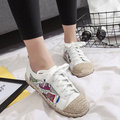 Printing Color Match Lace Up Espadrilles Casual Flat Shoes