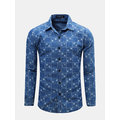 Mens Spring Fall Blue Grids Printing Turndown Collar с длинными рукавами Slim Fit Casual Shirts