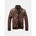 Spring Autumn Fashion Casual Button Cuff Collar PU Leather Jackets for Men