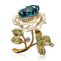 Elegant Rhinestone Crystal Rose Flower Brooch