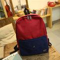 Women Casual  Contrast Color Canvas Shoulder Bag School Bag Backpack