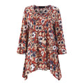 O-NEWE Casual Floral Print Pleated V Neck 3/4 Sleeve Blouse