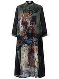 O-NEWE Vintage Stand Collar 3/4 Sleeves Printed Dresses