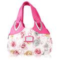 النساء الأزهار بو الجلود حقائب عارضة أزياء حمل حقائب الكتف