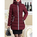 Warm Winter Pure Color Hooded Zipper Coat For Women