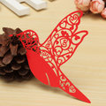 10Pcs Laser Cut Humming Bird Glass Place Карты Ivory Wedding Party Favor Accessories