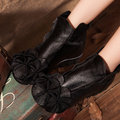 SOCOFY Flower Soft Leather Ankle Vintage Zipper Flat Boots