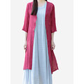 Casual Women Loose Solid Color 3/4 Sleeve Outwear Cotton Cardigan
