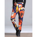 Print Thicken Elastic Waist Women Pants
