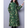 Vintage Floral Print Frog Button Thicken Stand Collar Women Coats