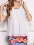 Casual Chiffon Irregular Short Sleeve O-neck Blouse For Women