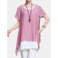 O-Newe Casual Women Short Sleeve Fake Two-Piece Irregular T-Shirt