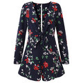 Sexy Deep V-Neck Floral Printed Women Mini Jumpsuits