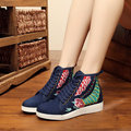 Vintage Embroidery Flower Canvas Lace Up High Top Boots