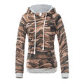 Women Casual Camouflage Stitching Hooded Hoodie