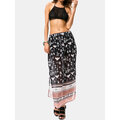 Bohemian Printed Side Split Elastic Waist Beach Skirts
