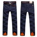 Winter Casual Business Thicken Cotton Slim Denim Straight Leg Mid-Waist Jean for Men
