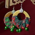 Ethnic Style Jewelry Earrings Handmade Bead Wood Cotton Women Earrings