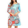 Vintage Women 3/4 Sleeve O-Neck Floral Print Dresses