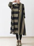 Vintage Women Stripe Long Sleeve Casual Loose Shirt Dresses