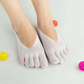 Women Ultra-thin Mesh Hole Five Toe Sock Solid Color Anti-skid Invisibility Boat Socks