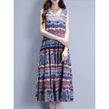Bohemian Print Pocket Sleeveless O-neck Maxi Dress For Women
