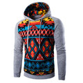 Mens Hoodies Stitching Color Pattern Printing Casual Sport Hooded Tops