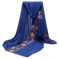 Women Linen Cotton Scraves Flower Embroidery National Style Stole Long Shawl Wrap