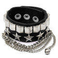 Metal Star Tassel Punk Chain Leather Bracelet