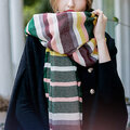 Women's Winter Poncho Vintage Multicolor Stripes Scarves Blanket Cashmere Shawl Scarf