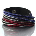 Multilayer Rhinestone Leather Wrap Bracelet