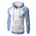 Men's Sping Fall Patchwork Two-tone Cotton Zipper Casual Hoodies Sweatshirts