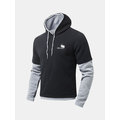 Mens Hoodies Splicing Sleeve Contrast Color Casual Sport Hooded Tops