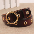 Women Round Buckle Genuine Second Layer Leather Belt Casual All-match Brief Pin Buckle Waistband
