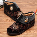 Flower Vintage Slip On Cotton Metal Flat Ankle Boots