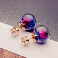 2 Style Wish Ball Earrings Sweet Glass Flower Ball Rhinestone Earrings