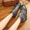 Leaf Chinese Knot Soft Genuine Leather Ankle Boots