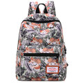 Women Cartoon Canvas Backpack Floral Student  School Bag